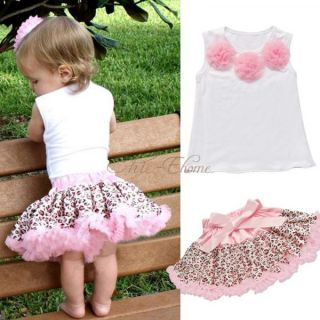 Baby Girls Kids Top Leopard Pettiskirt Skirt Dress Costume Tutu Outfits 2T 3T 4T