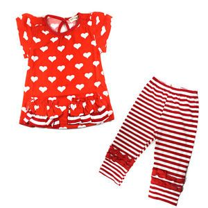 Kids Baby Girls 2pcs Top Pants Outfits Costume Red Hearts Striped Clothes 0 3Y