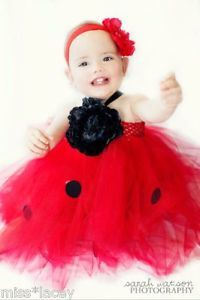 Baby Girl Toddler Tutu Dress Red Lady Bird Costume Dress Up Little Miss Lacey ©