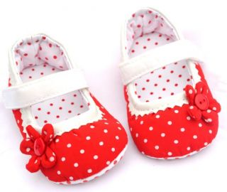 Red Mary Jane Toddler Baby Girl Crib Shoes Size 2 3 4