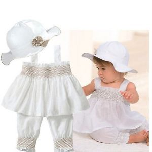 3pcs Baby Girl Kid Ruffle Top Pants Hat Set Outfit Clothes Costume 0 24M TYA9