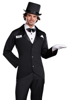 Mens Butler Server Tuxedo Top Hat Halloween Costume
