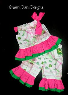 John Deere Country Pink Green Outfit Set Birthday Baby Toddler Girl Boutique