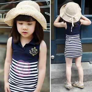 Girl Baby Sailor Stripe Top Dress 1pcs 4 5Y Summer Kids Cute Casual Slim Clothes