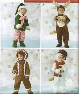 Simplicity 3916 Sewing Pattern Baby Toddler Costume Christmas Elf Reindeer