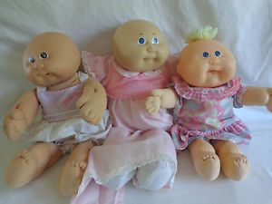 Vintage Cabbage Patch Dolls Lot of 3 Bald Fabric Body Girl Clothes Baby Kid