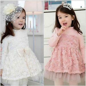 1pc Lace Rose Long Sleeve Kids Baby Girls Kids Party Formal Dress Outfit Clothes