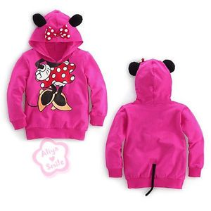 Toddler Girls Hoodie Thin Kids Minnie Mouse Ear Bow T Shirt Costume Tops Sz 4T