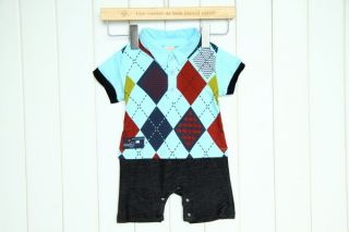 Baby Boy Smart Casual Polo Shirt Checked One Piece Romper Outfit Cloth 3 18M