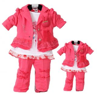 3pcs Baby Girls Kid Child Clothes Coat Long Sleeve T Shirt Pants Clothes NL14