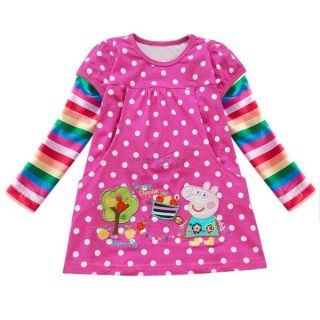 Hot Pink Polka Dots Peppa Pig Girls Rainbow Long Sleeve Top Dress T Shirt Sz 2 3