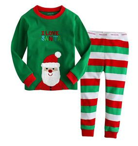 "Baby Girls Kids Costume Boys' Sleepwear ""Santa Claus"" Pajamas Sets x mas Gifts"