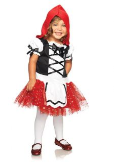 Toddler Girls Little Lil Red Riding Hood Dress w Hood Kids Halloween Costume New