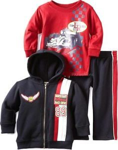 "New Baby Boys ""Race Car Team"" Size 24M 3pc Hoodie Jacket Shirt Pants Clothes"
