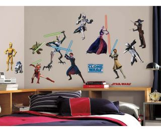 28 Star Wars The Clone Wars Glow in The Dark Kids Wall Decals Stickers Stick UPS