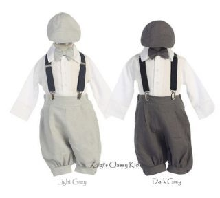 New Baby Boys Grey Gray Infant Knickers Vintage Suit Outfit Christmas Easter
