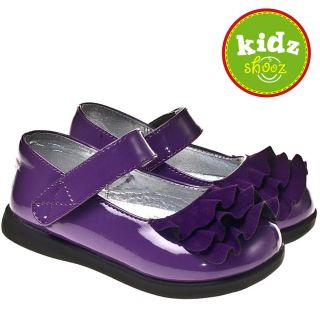 Girls Kids Toddler Children Infant Patent Leather Suede Shoes Purple