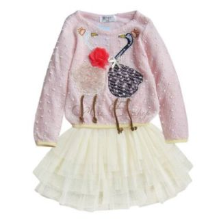 1pc Kids Baby Girls Swan Dress Knit Top Tulle Skirt Tutu Costume Outfit Sz 2 3 4