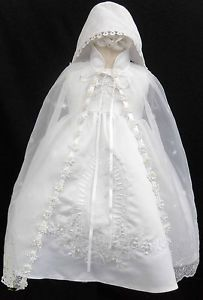 New Infant Baby Girl Christening Baptism Dress Gown Size 01234 0 30M White