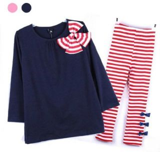 Hoe Baby Toddler Girls Clothes Striped Bow Shirt Leggings Kids Sets Suits 2pcs