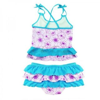 Girls Princess Ariel Mermaid Swimsuit Tankini Swimming Costume Bathing Sz 2 10Y