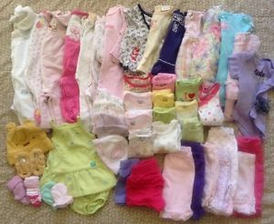 Newborn NB and 0 3 Months Infant Baby Girls Clothing Lot 49 Pieces