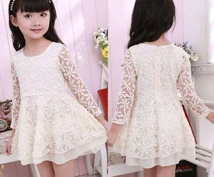 Kid Baby Girls Sundress Skirt Princess Wedding Party Lace Dress Skirt Clothing