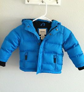 Cherokee Baby Toddler Boy Blue Winter Coat Puffy Jacket Size 18 Months Warm EUC