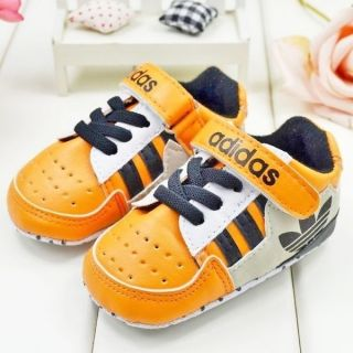 New Baby Boy Orange Infant Toddler Sneaker Crib Shoe 6 9 12 18 Months Size 3 5