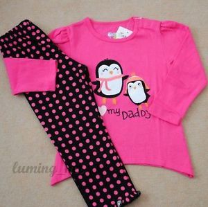 Girls Baby Toddler Kid's Clothes 2piece Cotton Suit T Shirt Pants)Two Penguins