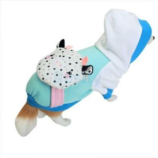 Pet Dog Cat Puppy Coat Shirt Hoodie Clothes Fashion Costume Dot Cow Backpack S