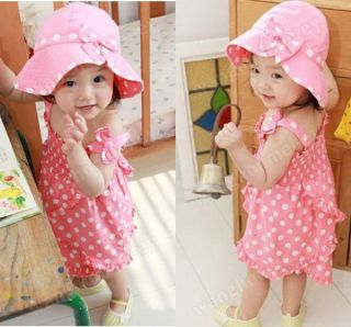 3pcs Kid Baby Girl Dress Braces Skirt Pant Hat Set Outfit Costume Clothes 0 36M