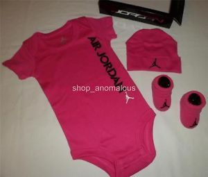 Nike Air Jordan Baby Girl Bodysuit Romper Set Hat Shoes Booties 0 6M Clothes