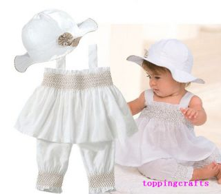 New Baby Girl Toddler Kid Ruffle Top Pants Hat Set Outfit Clothes Costume 0 24M