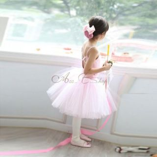 Pink Girl Rose Heart Party Wedding Flower Dress Ballet Dance Tutu Costume Sz 5 8