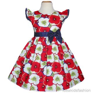 Red Flower Birthday Party Baby Toddler Girls Dresses Clothing Size 2T 3T 4T