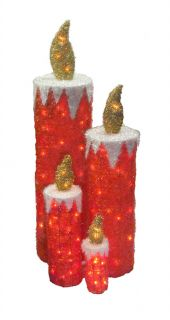 Set of 4 Sparkling Red Tinsel Candles Lighted Christmas Yard Art Decorations