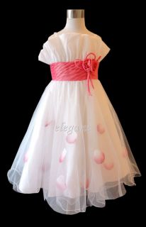 White Hot Pink Wedding Flower Girls Dress Gown 2 13 T