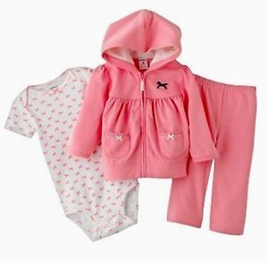 Carters Baby Girl French Terry Cardigan Hoodie Horse 3 Piece Set Newborn