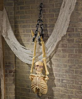 Hanging Torso Skeleton with Chains Haunted House Prop Halloween Decorations