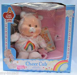 Complete Vintage 1986 Baby Cheer Bear Cub Plush Flocked Care Bear Kenner Box