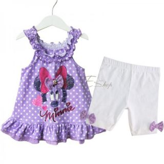 Girls Baby Minnie Mouse Polka Dots Ruffle Top Dress Pants Leggings Outfit Sz 0 2