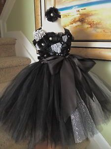 Tutu Dress Lace Satin Flowers Top Wedding Party Baby Shower Birthday Girl Photo