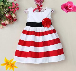 2014 Baby Girls Flower Dresses Stripe Toddler Clothing Princess Beach Dress WXF