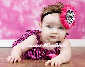 Newborn Baby Hot Pink Zebra Ruffles One Piece Petti Romper Jumpsuit Girl NB 3Y