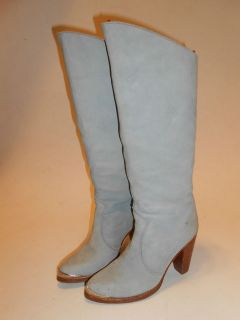 Vtg 1980's Zodiac Baby Blue Soft Suede Leather Knee High Boots Stack Heel 7M