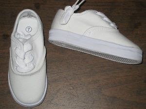White Classic Sneakers Canvas Oxfords Boys Infant Toddler Sizes 1 to 10 New