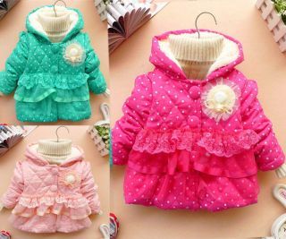 Baby Girls Kids Polka Dot Candy Color Lace Floral Outwear Winter Jacket Coat