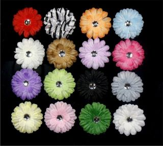 "96 Pcs 2"" Nice Baby Girl Crystal Daisy Flower Hair Clips Bow Weddings M16 XMS DS"