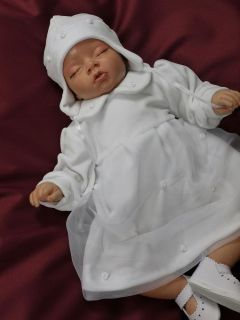 New Baby Girl White Christening Wedding Dress Warm Velour Gown Outfit 2 Pcs Set